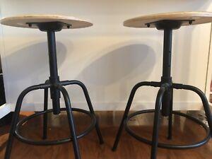 Two IKEA Kullaberg Stools - Metal and Wood