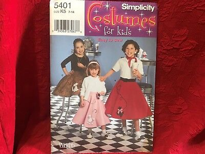 Simplicity Pattern 5401 Costumes for Kids Child & Girls Poodle Skirt Sz K5 Uncut