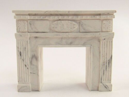 Miniature Plaster Fireplace with a Faux Marble Finish for Dollhouse E268