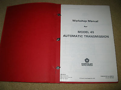 Chrysler workshop manual for Model 45 Automatic Gearbox Transmission