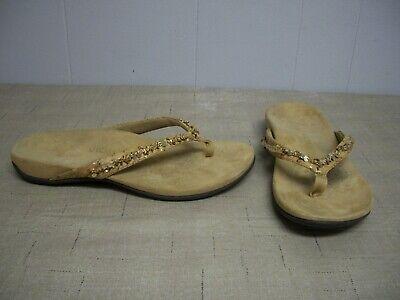- Women Vionic BELIZE Thong Flip Flop Sandals Tan Chain Sequins Shoes Size 10 Wide