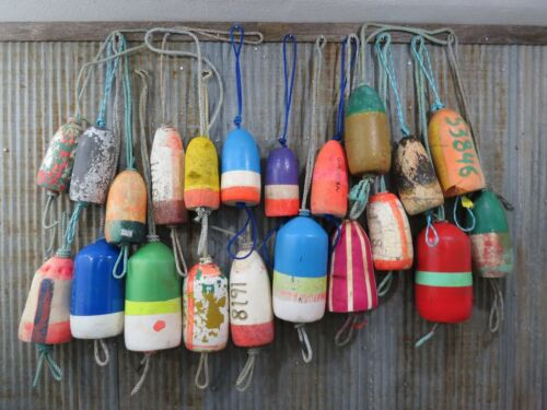 21 Authentic Used Dungeness Crab Lobster Pot Buoys Bouys Floats (444A)