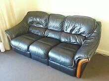 Leather 3 seater with 2 foot rests Cremorne North Sydney Area Preview