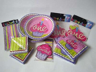First Birthday Decoration Set Girl One Cupcake 1 Year Old Baby Party Supplies - 1 Year Old Birthday Party Supplies