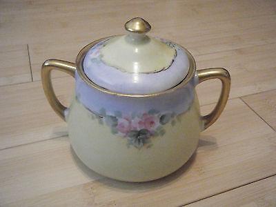 - Antique Bavaria Yellow/Blue Floral Porcelain Sugar Bowl w/Lid Gold Trim