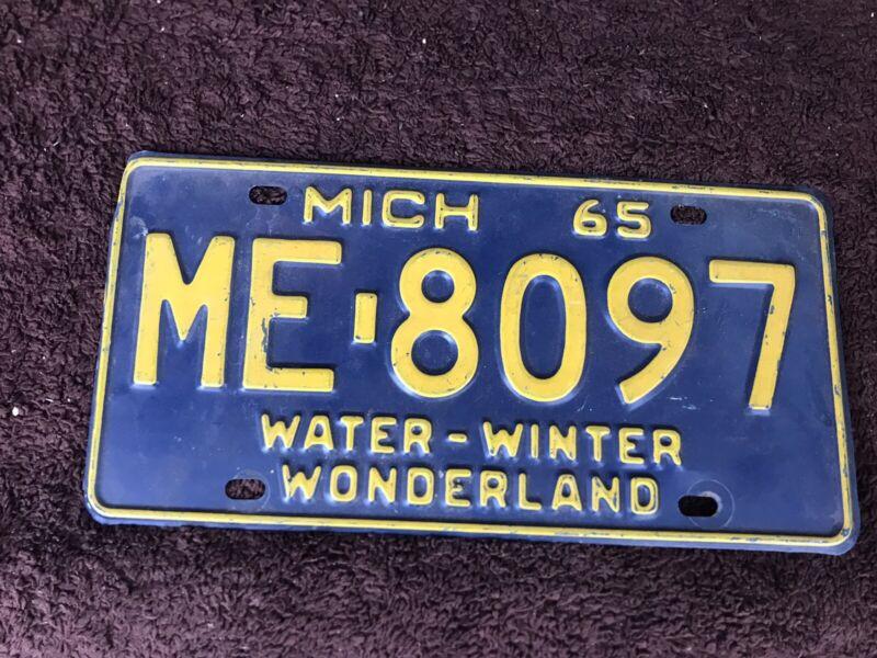 1965 Michigan Water Winter License Plate