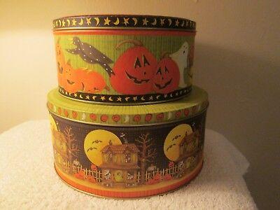 Debbie Mumm Round Decorative Halloween Metal Tins Jo-Ann Fabrics Set Of Two (Debbie Mumm Halloween)