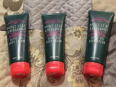 (3 x Bath and Body Works Mint Leaf & Bergamot Olive Oil Body Cream 8 oz NEW!)