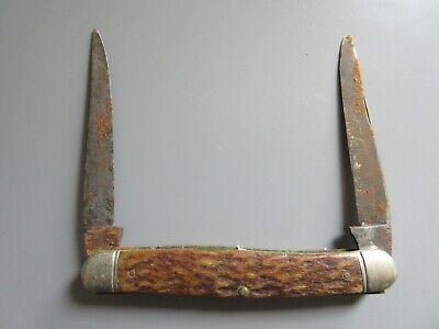Old Vintage Boker USA Bone Handle 2 Blade Folding Pocket Knife