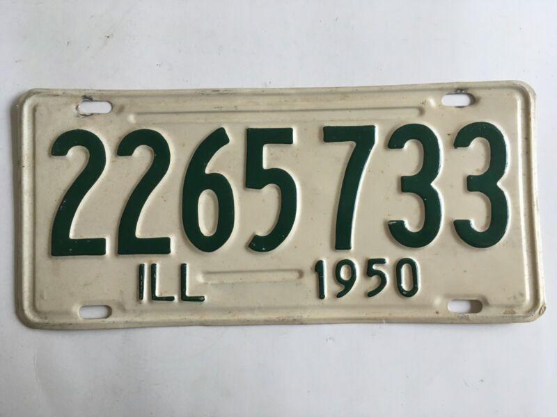 1950 Illinois License Plate 100% All Original Paint
