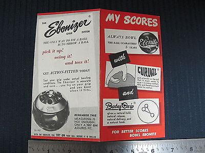 Ebonite Bowling Ball Advertising Brochure Pamphlet Score Card Ebonizer Grip