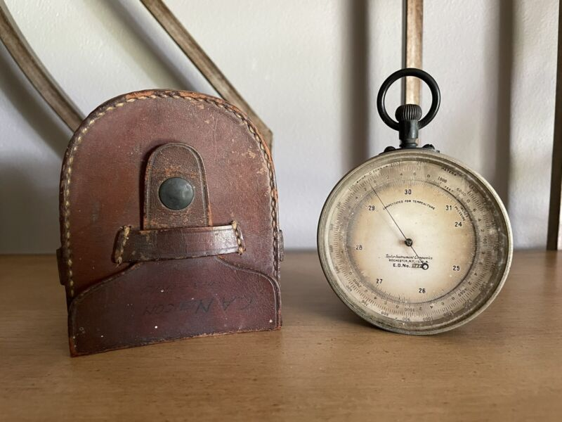 Vintage Taylor Instrument Compensated for Temperature Barometer w/ Leather Pouch