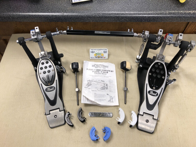 """PEARL P-2002CL PowerShifter """" Eliminator """" Double BASS Drum Pedal Set - USED!"""