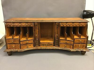 Large Wood Carved File Paper Desk Top Chest Letter Organizer Cards Writing