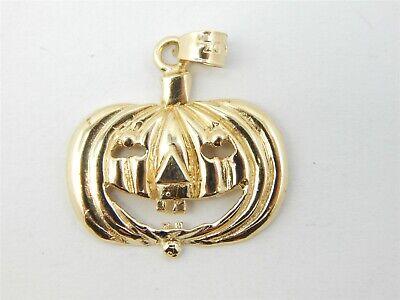 14K YELLOW GOLD DIAMOND CUT JACK-O-LANTERN PUMKIN PENDANT 2.7 GRAMS
