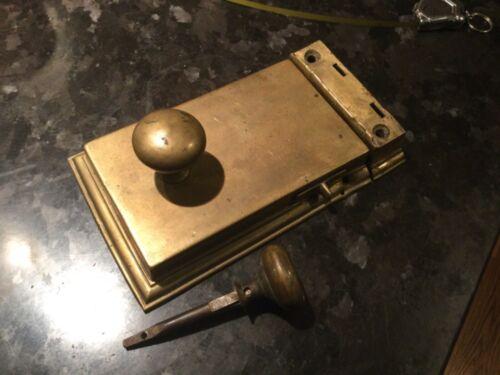 Antique Georgian Brass Rim lock and keeper PRICED REDUCED.