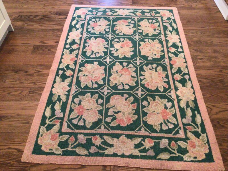 vtg hook rug antique pink roses green victorian shabby 4x6 Squares Geometric