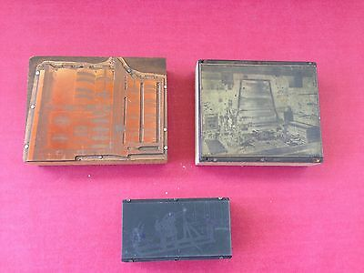 Antique Lot 3 Printing Press Blocks Copper And Zinc On Wood Marvel Rack Mfg Co