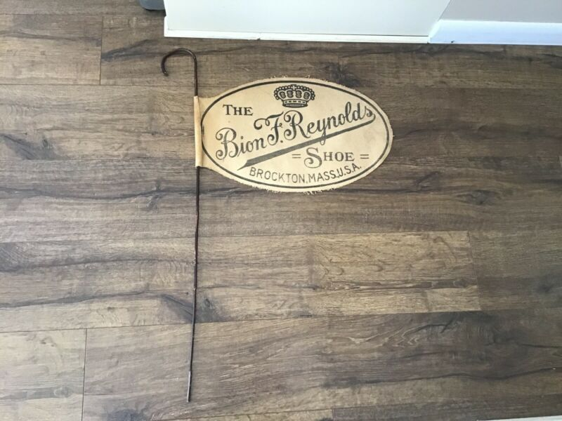 Bion F. Reynolds Shoe Brockton MA Advertising Cloth Sign Banner/ Cane 1800s 1900