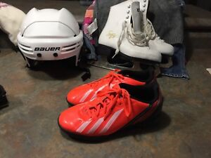 Indoor soccer shoes; Sz 2; fluorescent orange; Adidas
