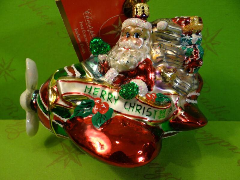 Christopher Radko Peppermint Flyer Glass Ornament
