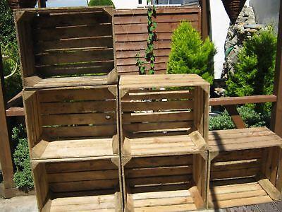 6 wooden crates fruit apple fruit  boxes vintage home decor