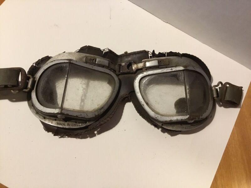 VINTAGE MELTON ENGLAND MK 9 MK.IX MOTORCYCLE PILOT WW2 Steampunk Goggles