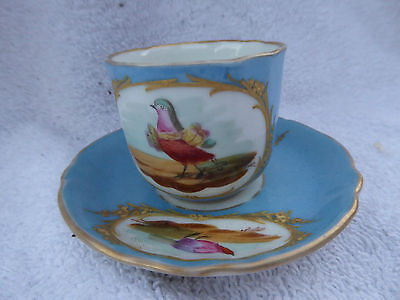 ANTIQUE MINIATURE SEVRES CELESTIAL BLUE HANDPAINTED TEA CUP & SAUCER birds
