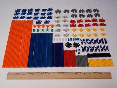 215 MICRO KNEX Parts/Pieces Lot Mini Rods Connectors Red Black Blue Gray Orange+