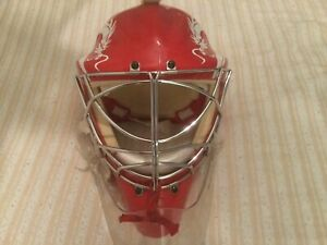 Olie Goalie Ice Hockey Helmet model M8000MA9900, cat's eyes, red