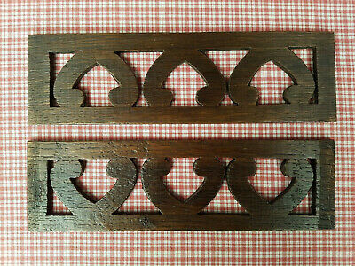 ANTIQUE FRENCH OAK FRETWORK HEART EMBELLISHMENTS   C1900