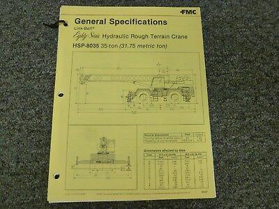 Link Belt Hsp-8035 Rough Terrain Crane Specification Lifting Capacities Manual