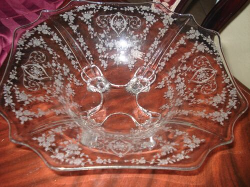 CAMBRIDGE DIANE ETCHED CRYSTAL CONSOLE BOWL(4 TOES)......NICE!