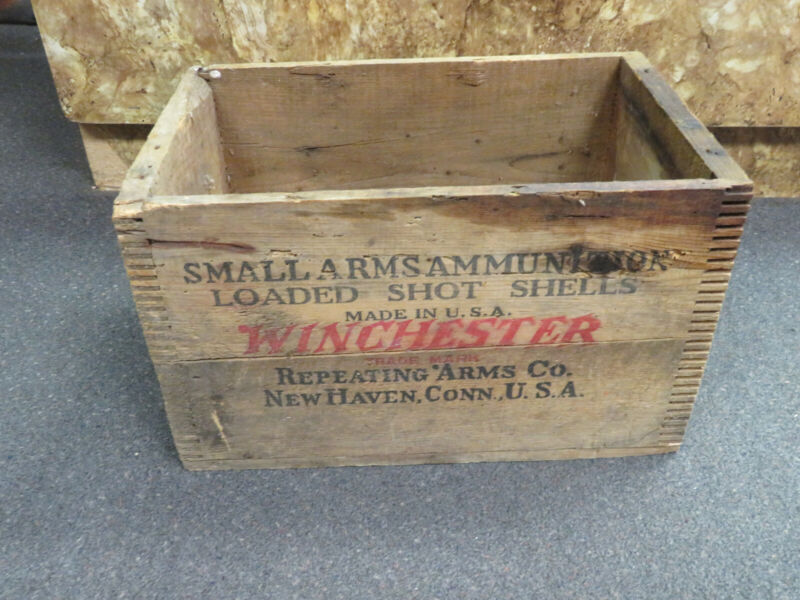 VINTAGE RARE WINCHESTER SMALL ARMS LOADED SHOT GUN SHELLS EMPTY AMMO CRATE/BOX