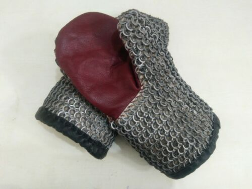 Chainmail Gloves- 9mm 16-gauge-flat-ring alt solid ring dome riveted