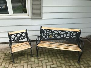 Wrought iron and oak bench and chair set