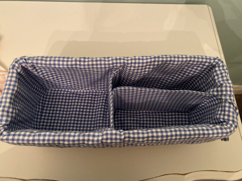POTTERY BARN KIDS Sabrina Brown Basket Diaper Caddy With Gingham Liner