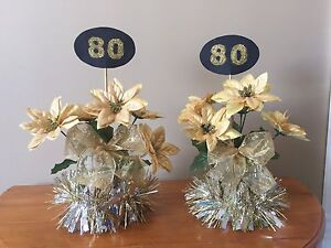 80th birthday table centre pieces