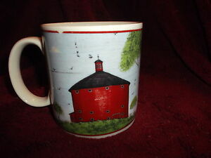Warren-Kimble-1998-Barns-Mug-barn-Sakura-Red-Barn-amp-Trees-Farm-Scene-3-5-034-x3-5-034