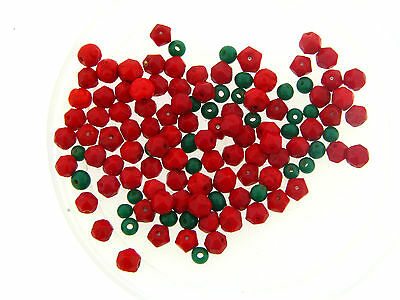 Vintage Czech Red Green Faceted Rough Cut & Round Fruit Salad Glass Bead Lot Faceted Rough Cut Ruby