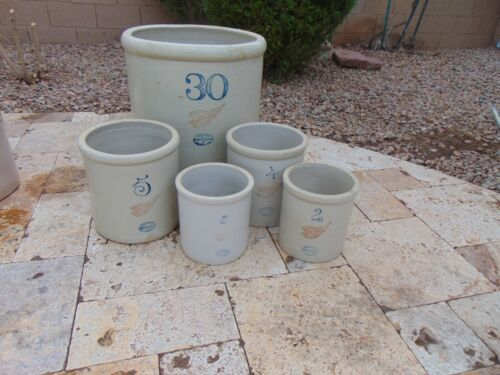 Large  Collection Of 5 Red Wing Stoneware Crocks Antique 30 , 5 , 4 & 2  Gallon