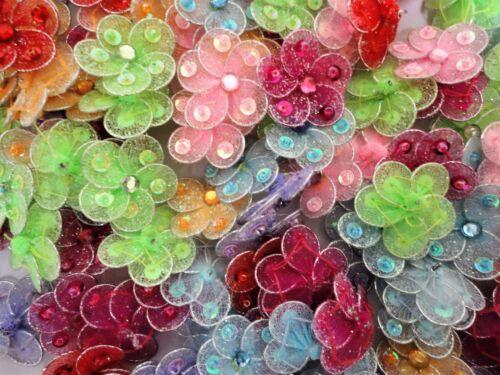 "1"" Rhinestone Sequin Mesh Flowers Applique/Craft/Jewelry/Sewing 25/50pcs- HBN-23"