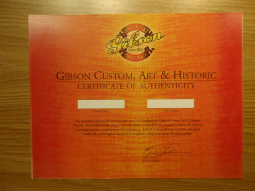 Gibson Custom Shop blank certificates