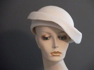 White Felt Hat - Handmade white felt beret type hat, vintage inspired, wear 2 ways, church, tea