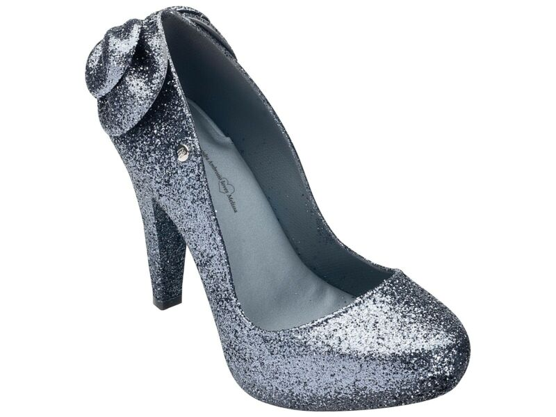 Melissa Alessandra Ambrosio Grey Incense Glitter Pumps Bow High Heels Size 8