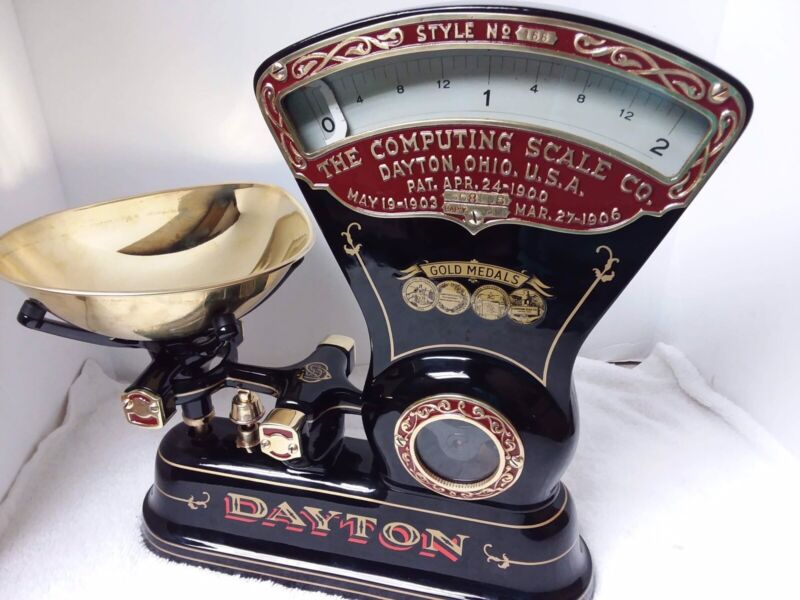 We Custom restore upgraded w/brass Antique Dayton candy scales for you.