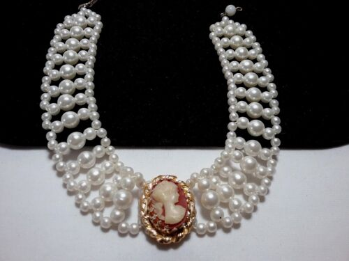 Vintage Estate Gold Art Deco Victorian Pearl Beaded Cameo Choker Necklace