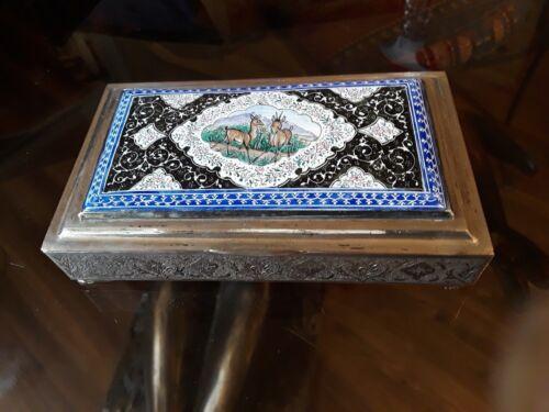ANTIQUE SILVER & ENAMEL ISPHAHAN PERSHIAN VANITY CIGARETTE BOX