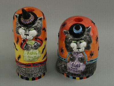 Pair Fitz & Floyd Kitty Witches Halloween Cat Candlestick Candle Holders Retired