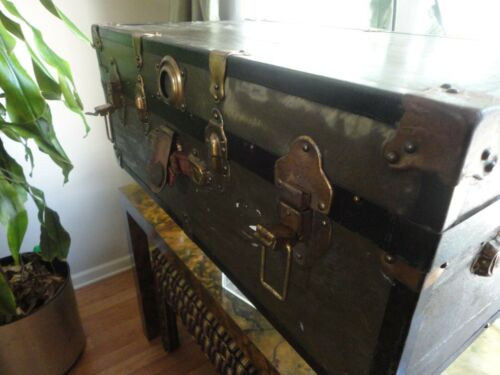 Vintage Military Green Wooden Storage Trunk Long Lock Steam Chest FootLocker $85